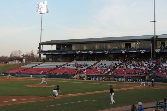Game action at Kane County's Fifth Third Bank Ballpark in April 2014. (Photo by Craig Wieczorkiewicz/The Midwest League Traveler)