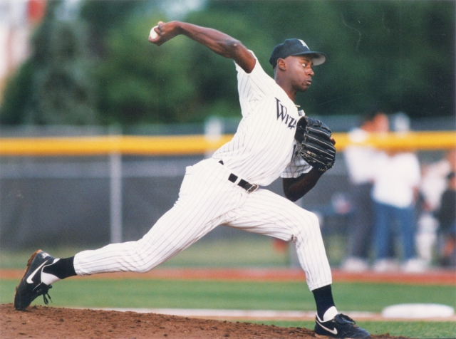 RHP LaTroy Hawkins pitched for the Fort Wayne Wizards in 1993. (Photo from It's All Relative blog of the Fort Wayne TinCaps)