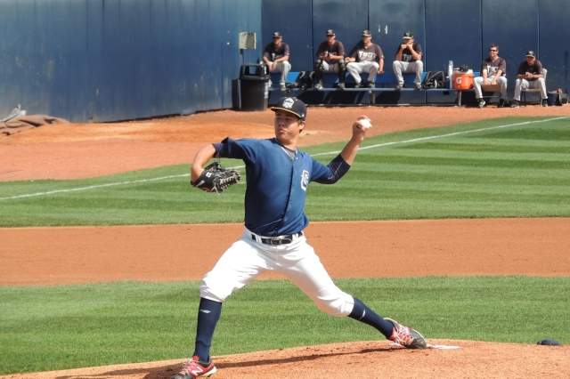 Lake County Captains SP Luis Lugo pitches at Classic Park earlier this year. (Photo by Craig Wieczorkiewicz)