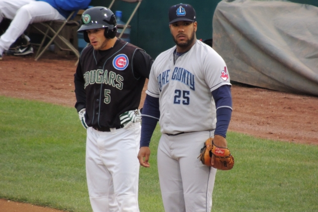 Kane County Cougars DH Mark Zagunis and Lake County Captains 1B Nellie Rodriguez