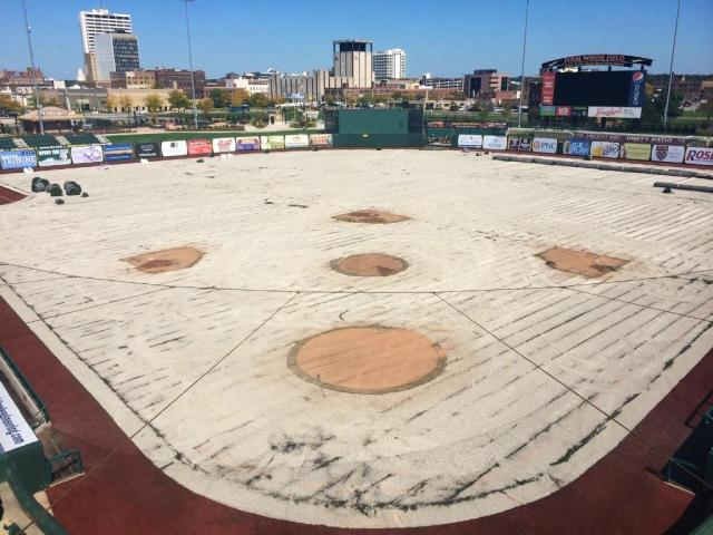 Four Winds Field currently looks like this, after its artificial turf was removed and before natural grass is installed. (Photo tweeted by Chris Hagstrom)