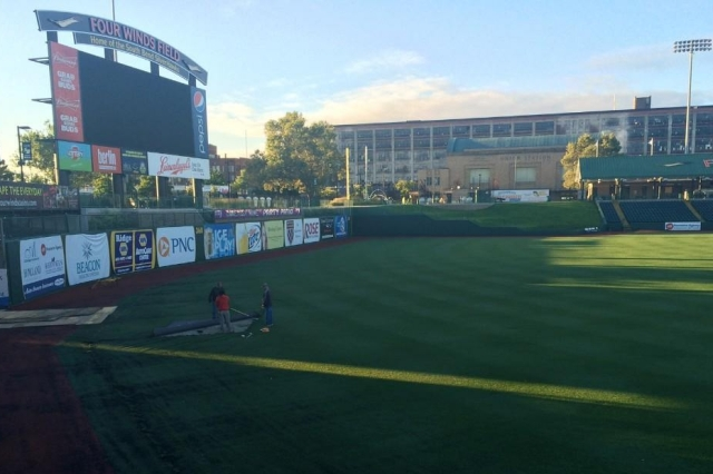 Removal of the artificial turf began in left field.