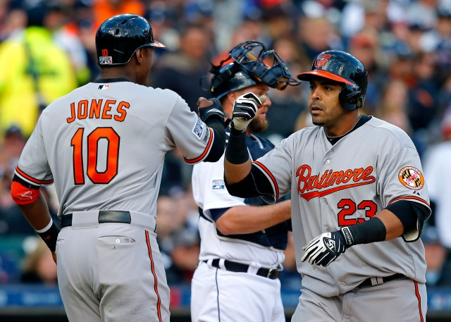 Orioles DH Nelson Cruz (right) is congratulated by teammate Adam Jones after hitting a two-run homer in Game 3 of the ALDS. during the sixth inning in game three of the 2014 ALDS. Both are former Midwest League players. (Photo by Rick Osentoski/USA TODAY Sports)