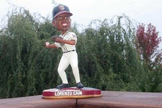 Lorenzo Cain as a Wisconsin Timber Rattler, in bobblehead form. (Photo by Mike Jehle)