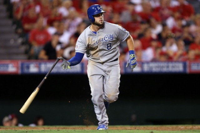 Royals 3B Mike Moustakas watches his solo home run in the 11th inning Thursday night at Angel Stadium. (Photo by Jeff Gross/Getty Images)
