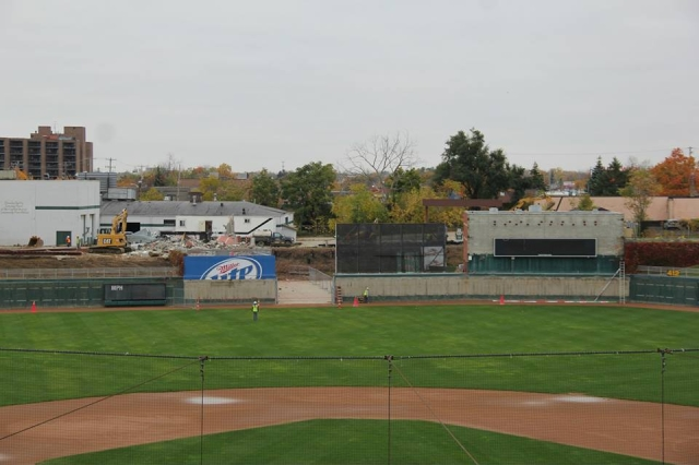 This is what the outfield area of Cooley Law School Stadium looked like midday Wednesday. (Photo courtesy of the Lansing Lugnuts)