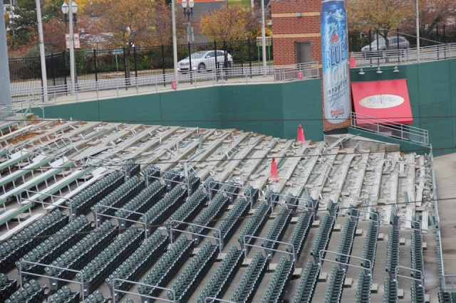 The bleachers that were in the left-field corner of the stadium are being replaced with new seats.