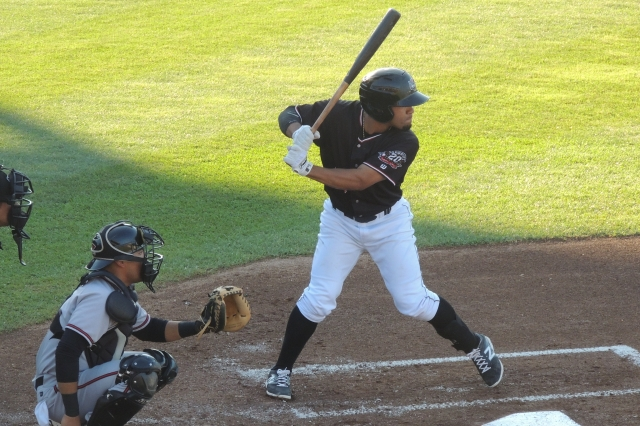 Devon Travis bats for the Erie SeaWolves earlier this year. (Photo by Craig Wieczorkiewicz/The Midwest League Traveler)