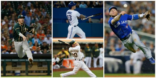 Montage of Josh Donaldson and Brett Lawrie photos from MLB's Twitter account.
