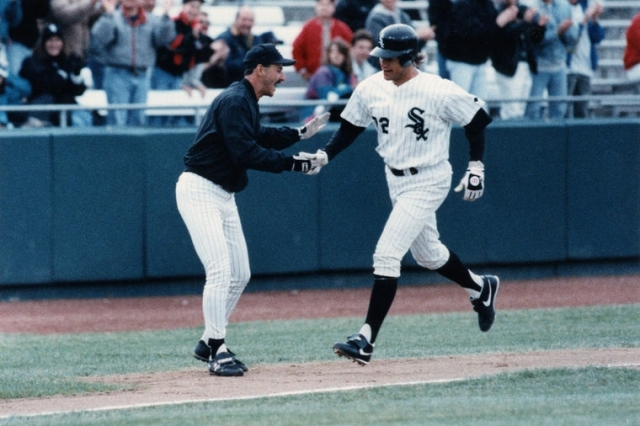 Carlton Fisk (right) is congratulated by Terry Francona after hitting a long home run during his short rehab stint in South Bend. (Photo by Ron Ryback/South Bend Tribune)