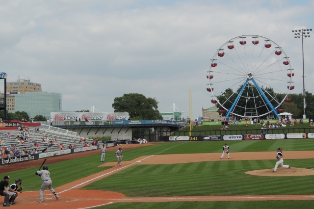 The new Ferris wheel created a unique LF backdrop at Modern Woodmen Park, home of the Quad Cities River Bandits. (Photo by Craig Wieczorkiewicz/The Midwest League Traveler)