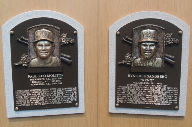 The Baseball Hall of Fame plaques of Paul Molitor and Ryne Sandberg hang next to each other. (Photo by Craig Wieczorkiewicz/The Midwest League Traveler)