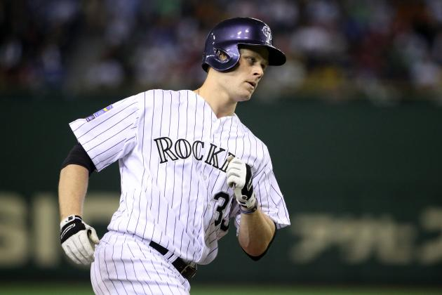 Former Quad City River Bandits first baseman Justin Morneau played for the Colorado Rockies in 2014 and 2015. (Photo by Atsushi Tomura/Getty Images)