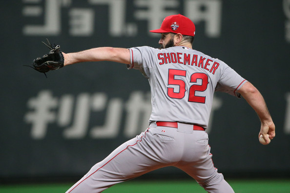 Los Angeles Angels RHP Matt Shoemaker pitches for the MLB All-Stars at Japan's Sapporo Dome on Tuesday. (Photo by Atsushi Tomura/Getty Images)