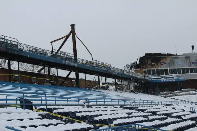 This is how the damaged area of Fifth Third Ballpark looked on Jan. 10, 2014, one week after the fire. (Photo courtesy of the West Michigan Whitecaps)