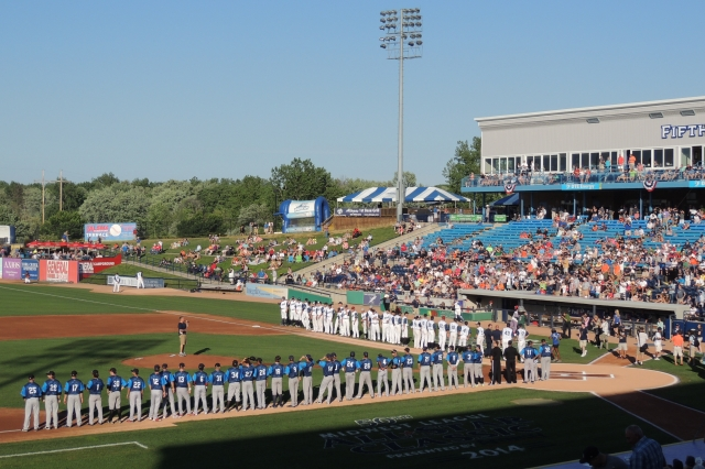Players and coaches lined up as they were introduced prior to the 2014 Midwest League All-Star Game. (Photo by Craig Wieczorkiewicz/The Midwest League Traveler)