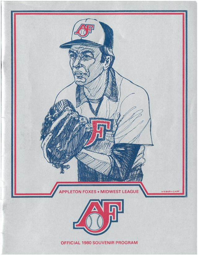 The cover of the Appleton Foxes souvenir program in 1980, the year Greg Walker played for the team. (From the Rattler Radio blog)