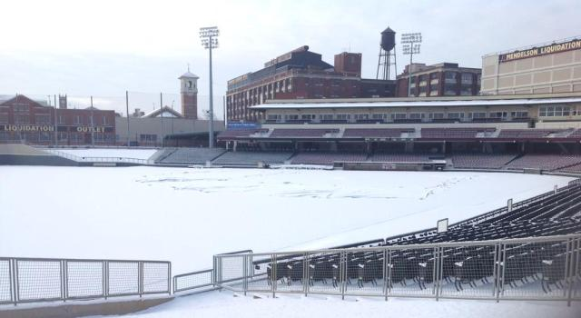 The snowy scene at Fifth Third Field, home of the Dayton Dragons, on Tuesday morning.
