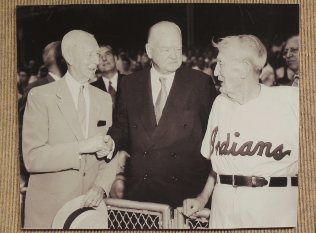 1954 photo of Connie Mack, Herbert Hoover & Cy Young