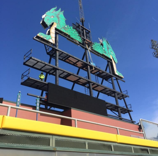 Dragons videoboard being built
