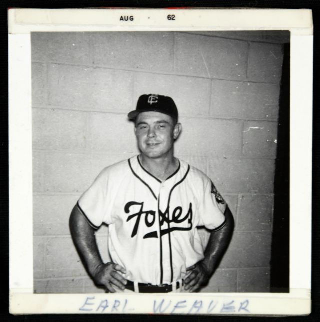 "This photo of Earl Weaver wearing a Fox Cities Foxes uniform is marked ""Aug 62"" -- probably when it was developed. Weaver managed the Elmira Pioneers that year. (Photo from the MEARS Online Auctions website)"