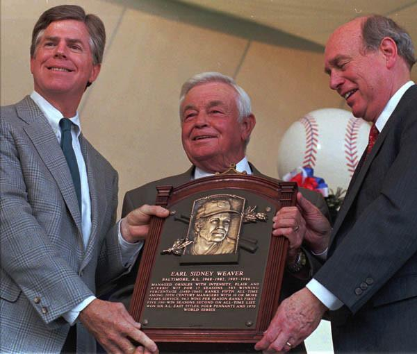 Earl Weaver was inducted into the Baseball Hall of Fame on Aug. 4, 1996. (Photo by Karl Merton Ferron/The Baltimore Sun)