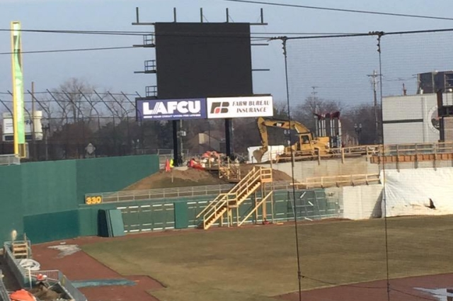 Lugnuts scoreboard being built