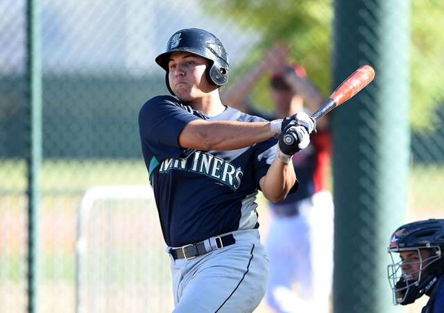 Top Seattle Mariners prospect Alex Jackson will start the 2015 season with the Clinton LumberKings. (Photo by Mike Janes/Four Seam Images)