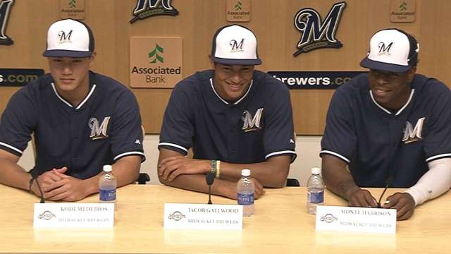 The Milwaukee Brewers' top three 2014 draft picks -- (from left) Kodi Medeiros, Jake Gatewood and Monte Harrison -- will start the 2015 season with the Wisconsin Timber Rattlers. (MLB.com photo)
