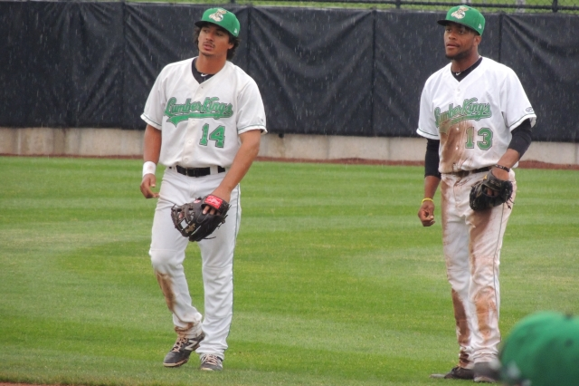 LumberKings SS Chris Mariscal (left) and 2B Gianfranco Wawoe