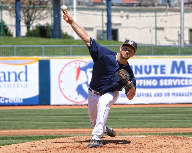 Captains RHP Dace Kime delivers a pitch during Sunday's 6-0 win over the Loons. (Photo by Tim Phillis/TCP Photography)