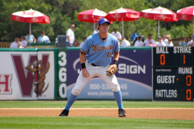 Hunter Morris played first base for the Wisconsin Timber Rattlers in 2010. (Photo from Rattler Radio)