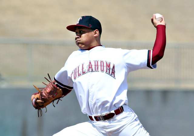 Top Cleveland Indians pitching prospect Justus Sheffield, seen here playing in high school in 2013, starts the 2015 season on the Lake County Captains roster. (Photo by Alyson Boyer Rode)