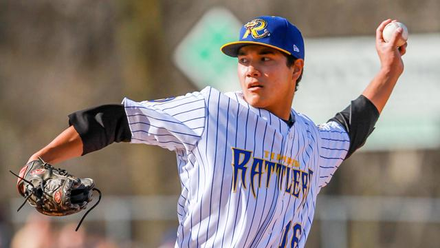 Brewers pitching prospect Kodi Medeiros threw six no-hit innings and struck out seven in his Midwest League debut  Sunday. (Photo by Ann Mollica/Wisconsin Timber Rattlers)
