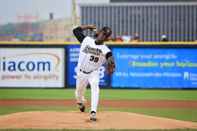 River Bandits SP Akeem Bostick held the Timber Rattlers to one hit in five scoreless innings Friday. (Photo by Sean Flynn Photography)