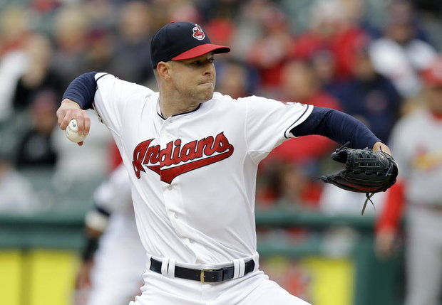 Indians RHP Corey Kluber struck out 18 batters in eight innings Wednesday. (AP photo by Tony Dejak)