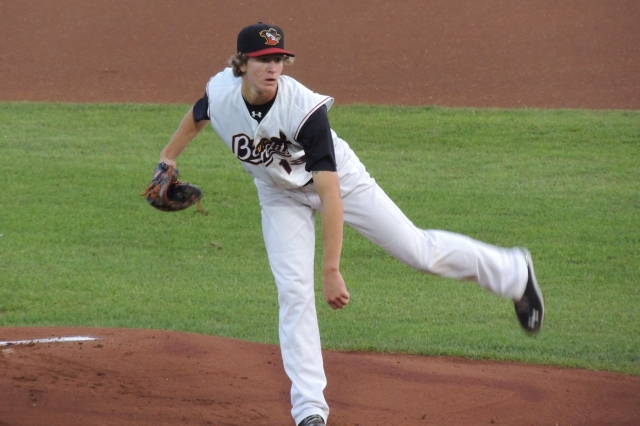 Josh Hader took the mound for the Quad Cities River Bandits in Game 3 of the 2013 MWL Championship Series. (Photo by Craig Wieczorkiewicz/The Midwest League Traveler)