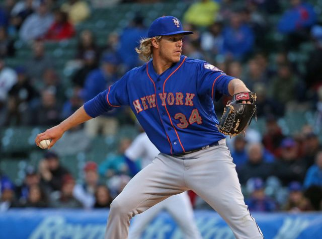 Mets RHP Noah Syndergaard delivers a pitch during his MLB debut Tuesday at Wrigley Field. (Photo by Jonathan Daniel/Getty Images)