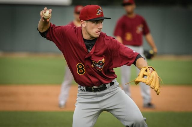 Quad Cities River Bandits SS Alex Bregman fields a ball during pre-game infield practice Friday. (Photo by Rich Guill)