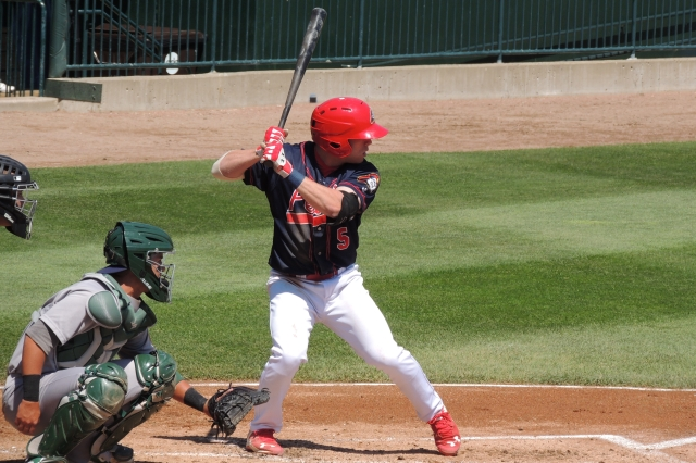 Andrew Sohn was one of three Peoria Chiefs who hit back-to-back-to-back homers in Wednesday's game. (Photo by Craig Wieczorkiewicz/The Midwest League Traveler)