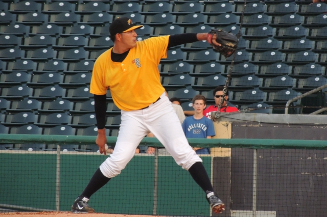 Enderson Franco pitching for the Hot Rods in Bowling Green on June 25. (Photo by Craig Wieczorkiewicz/The Midwest League Traveler)