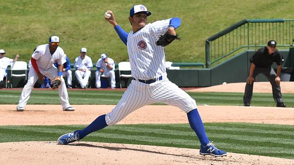 South Bend Cubs RHP Erick Leal pitched five shutout innings Monday. (Photo courtesy of the South Bend Cubs)