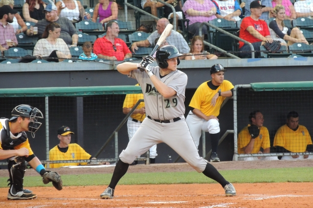 Gavin LaValley bats for the Dayton Dragons.