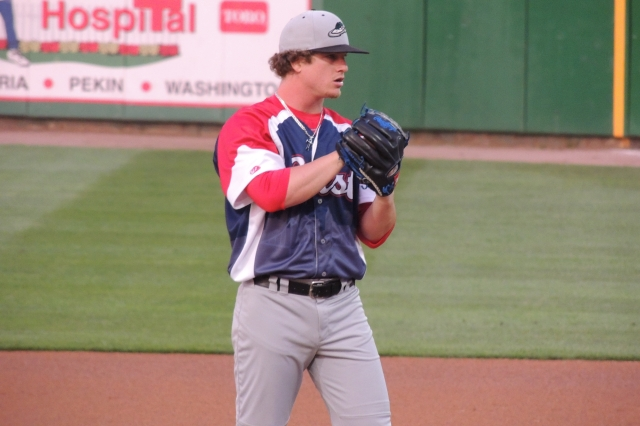 Then-Great Lakes Loons RHP Grant Holmes on the mound during the 2015 Midwest League All-Star Game. (Photo by Craig Wieczorkiewicz/The Midwest League Traveler)