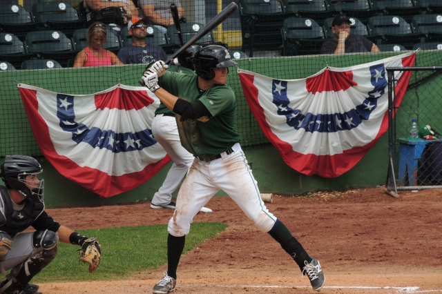 Jack Reinheimer bats for the Clinton LumberKings during a game at Ashford University Field last year. (Photo by Craig Wieczorkiewicz/The Midwest League Traveler)