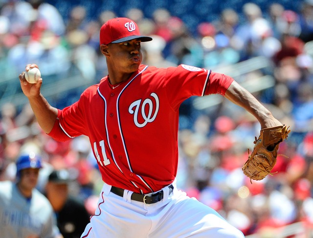 Washington Nationals RHP Joe Ross throws a pitch during his MLB debut Saturday. (Photo by Brad Mills/USA TODAY Sports)