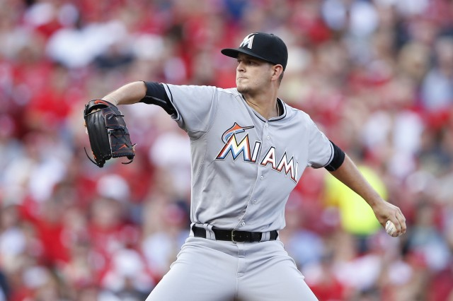 Miami Marlins LHP Justin Nicolino threw seven scoreless innings in his MLB debut Saturday. (Photo by Joe Robbins/Getty Images)