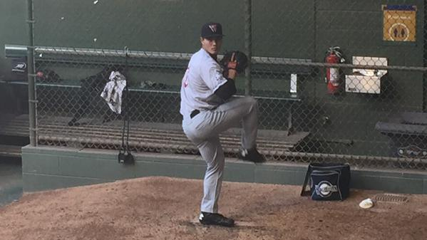 Wisconsin Timber Rattlers LHP Kodi Medeiros warms up in the bullpen before Friday's game. (Photo tweeted by @Brewers)