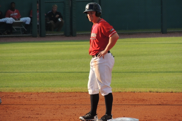 Hot Rods 2B Riley Unroe stands at second base during Saturday's game.
