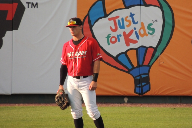 Thomas Milone patrolled centerfield for the Hot Rods on Saturday.
